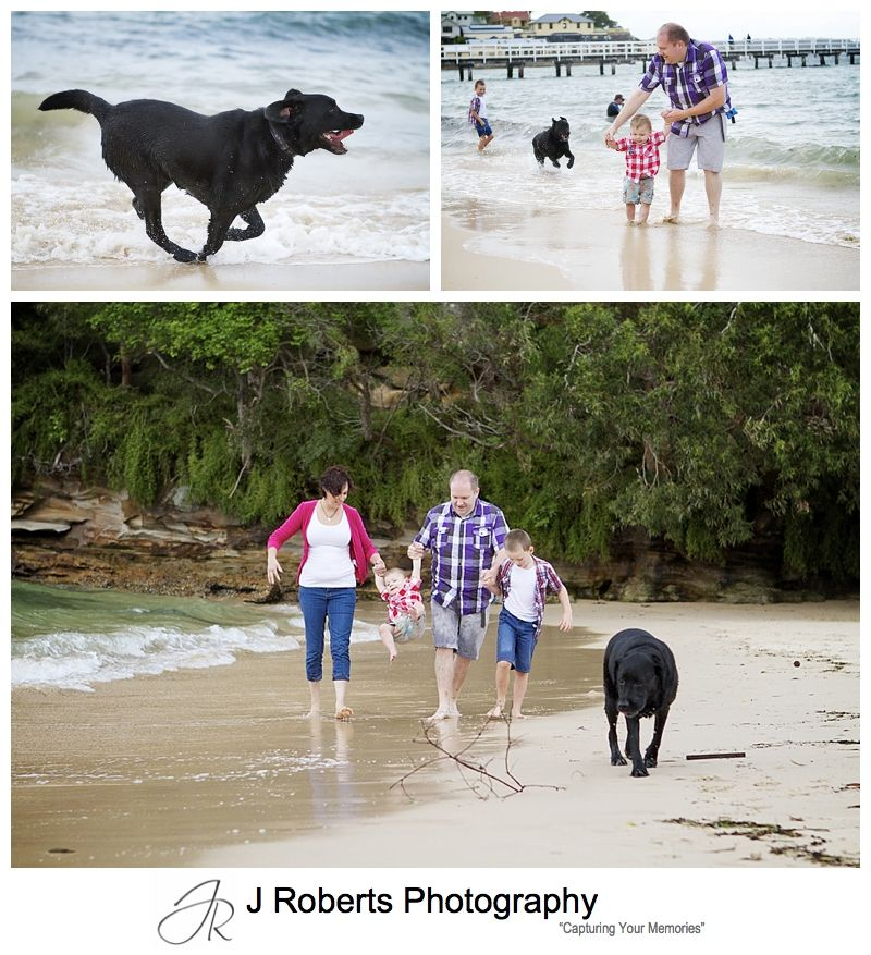 The family dog on the beach with the family for portraits - sydney family portrait photographer