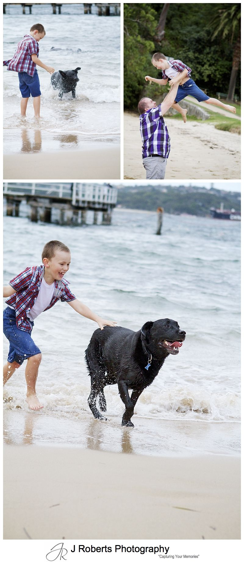 7 year old boy having fun at the beach - sydney family portrait photographer
