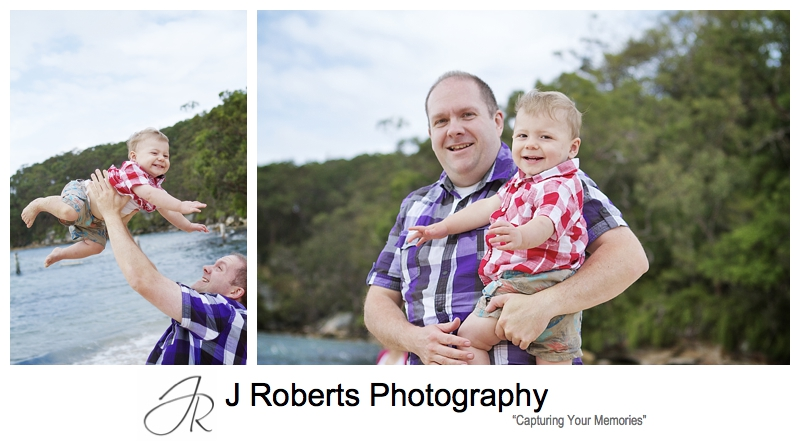 Toddler with his dad at the beach - sydney family portrait photographer