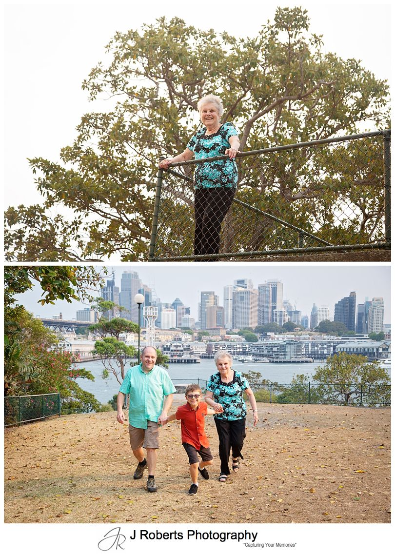 Family Portrait Photography on Location in Sydney at Blues Point Reserve with Smokey Light