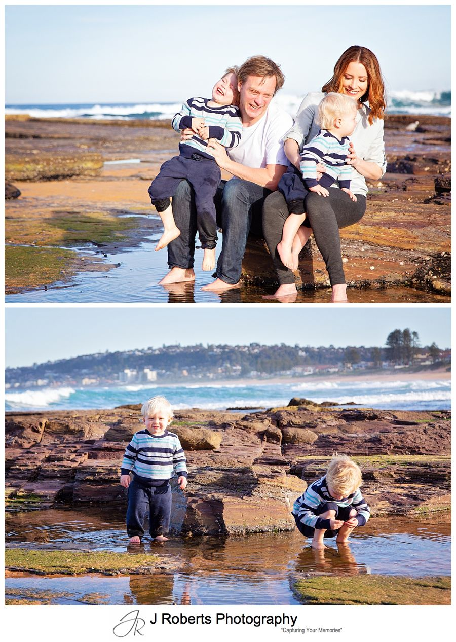 Family Portraits in winter at the beach in Sydney North Narrabeen