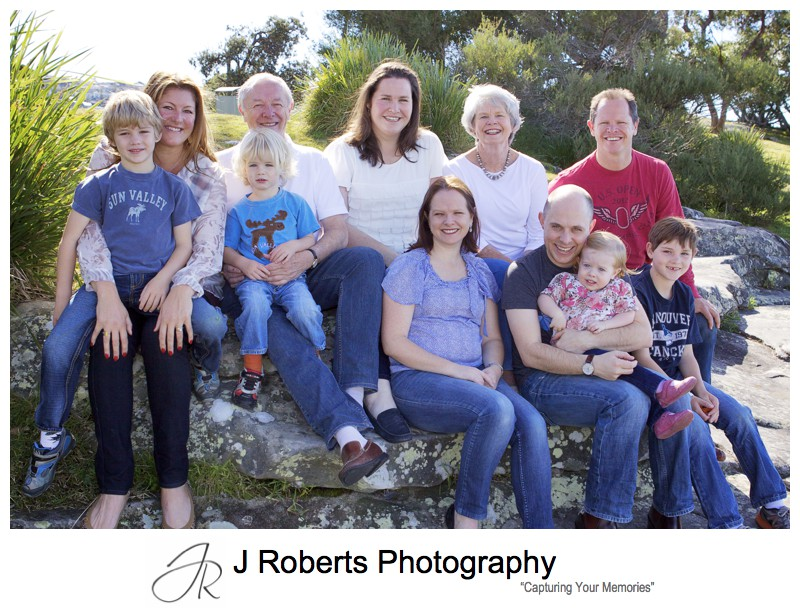 Multigeneration family portrait with extended family - family portrait photography sydney