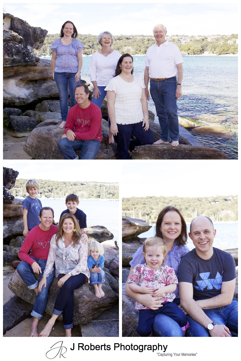 Combinations of different families in a multi generation family portrait at balmoral beach sydney