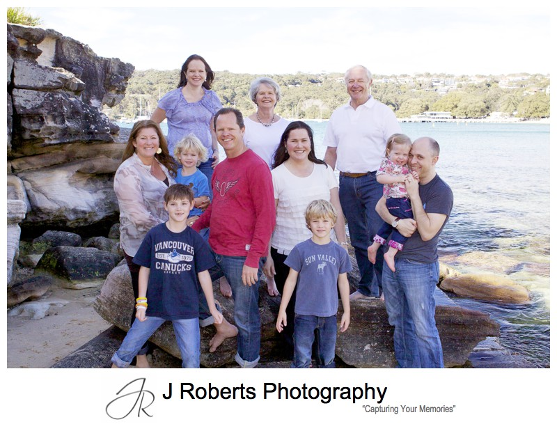 Multi Generation FAmily POrtrait at Balmoral Beach Sydney - Extended family portrait photography sydney