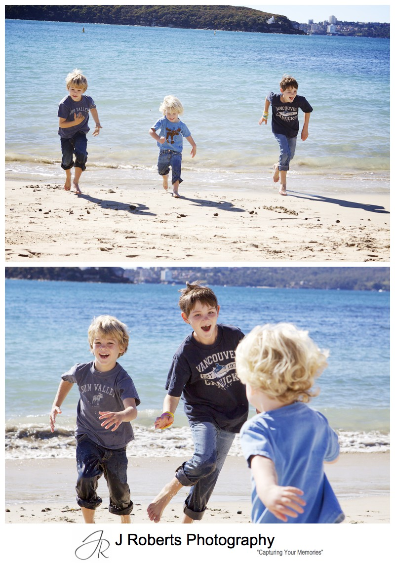 Family of 3 boys running on balmoral beach - family portrait photography sydney