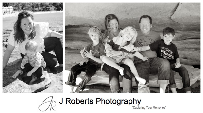 B&W candid family portraits at balmoral beach - family portrait photography sydney