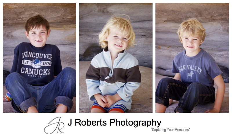 Individual portraits of family with 3 boys - family portrait photography sydney