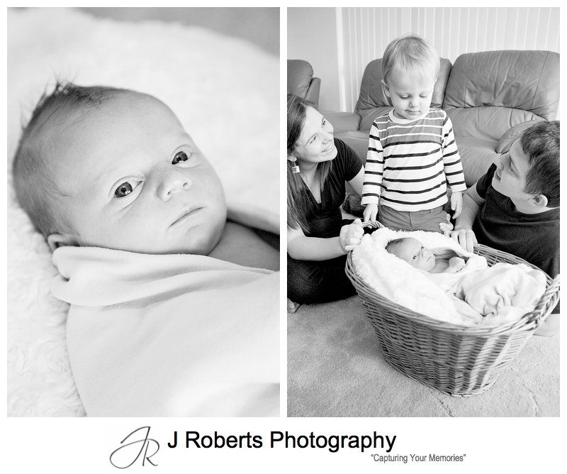 Newborn Baby Portraits Family Home Lane Cove Baby Boy with Older Brother