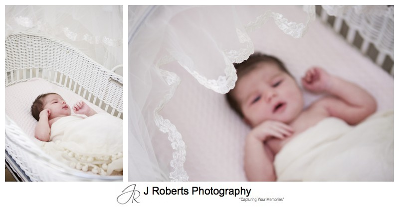 Newborn baby in wicker bassinet with mothers veil over it - newborn portrait photography sydney