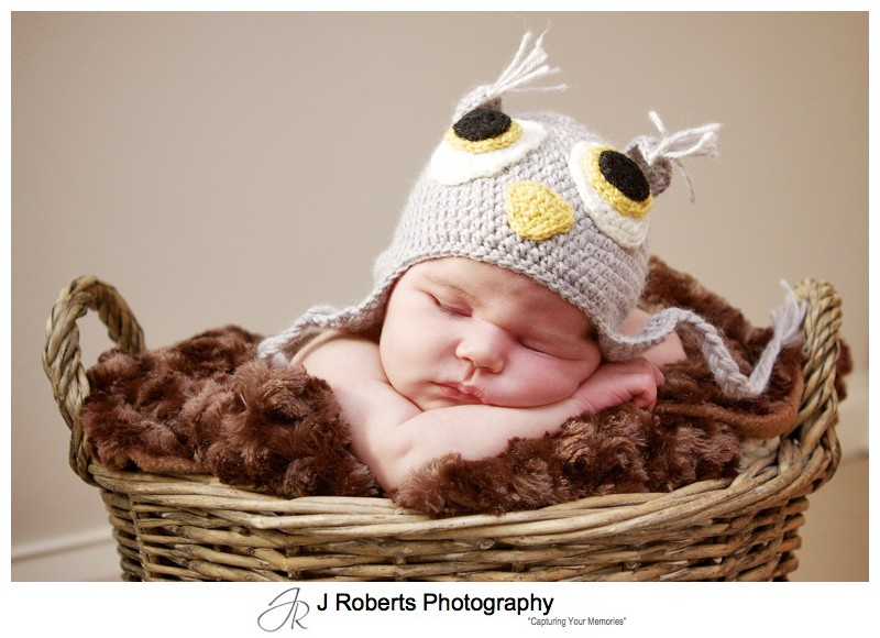 Little baby with a knitted owl beanie - newborn baby portrait photography sydney