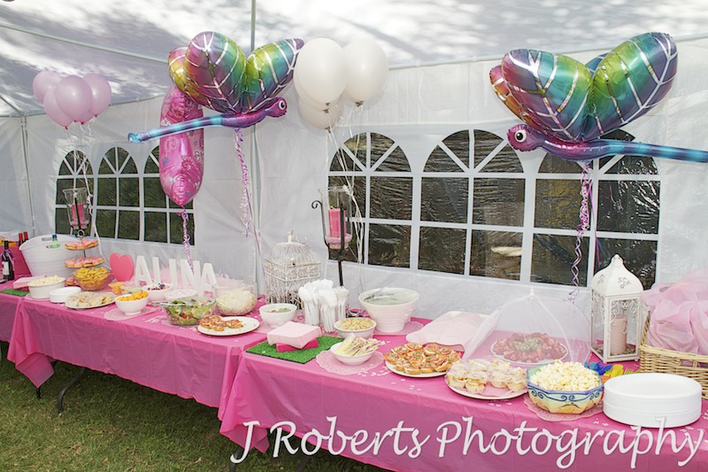1st Birthday Party food table laid out ready for party - Party Photography Sydney