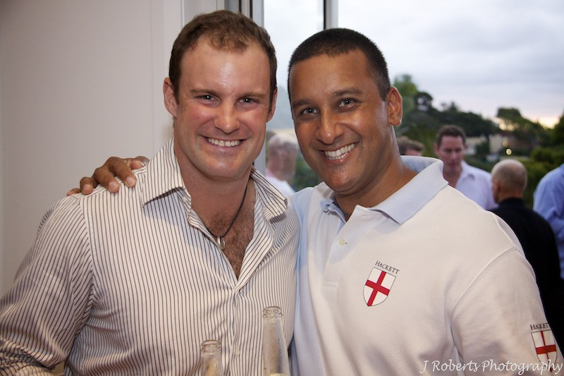Justin with Andrew Strauss - party photography sydney