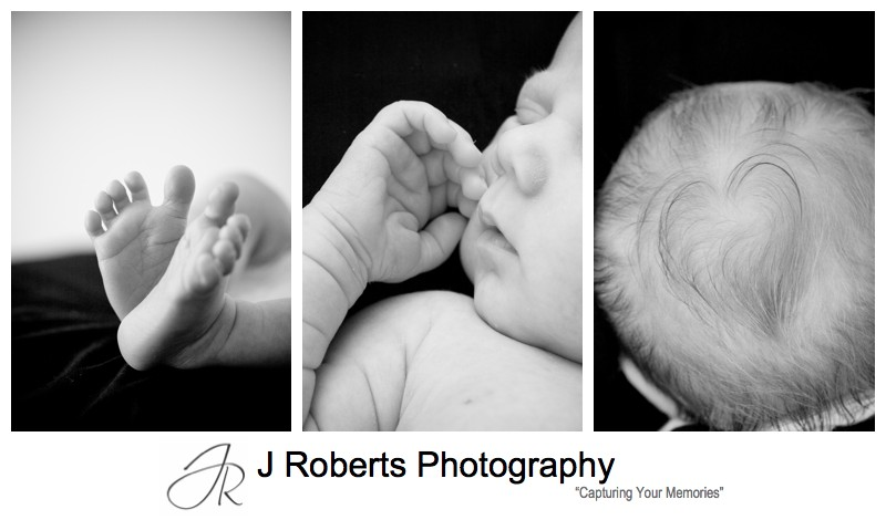 Newborn baby boy details feet, hands and heart shape in hair - newborn baby portrait photography sydney