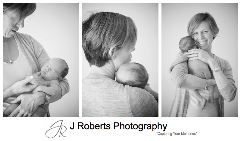New mothers enjoying cuddles with a newborn baby boy - newborn baby portrait photography sydney