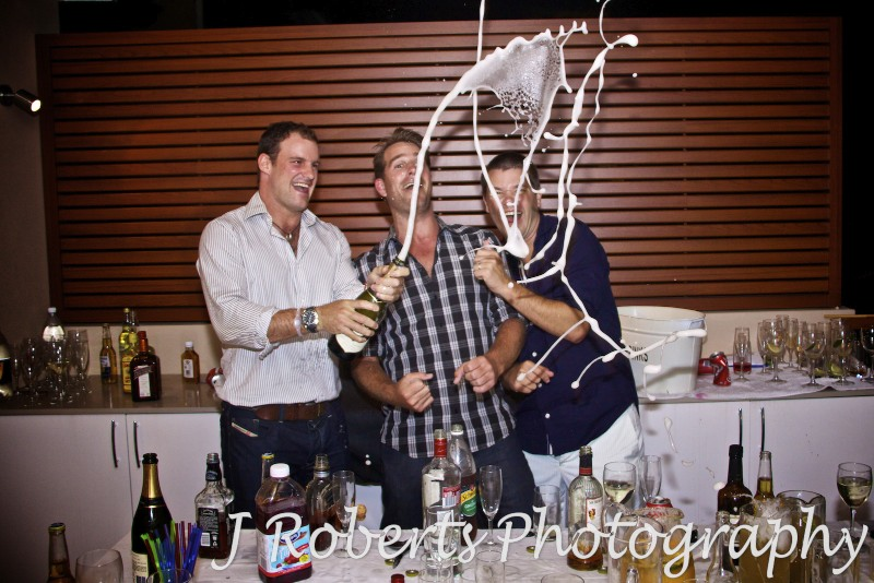 Celebrating with a champagne shower - party photography sydney