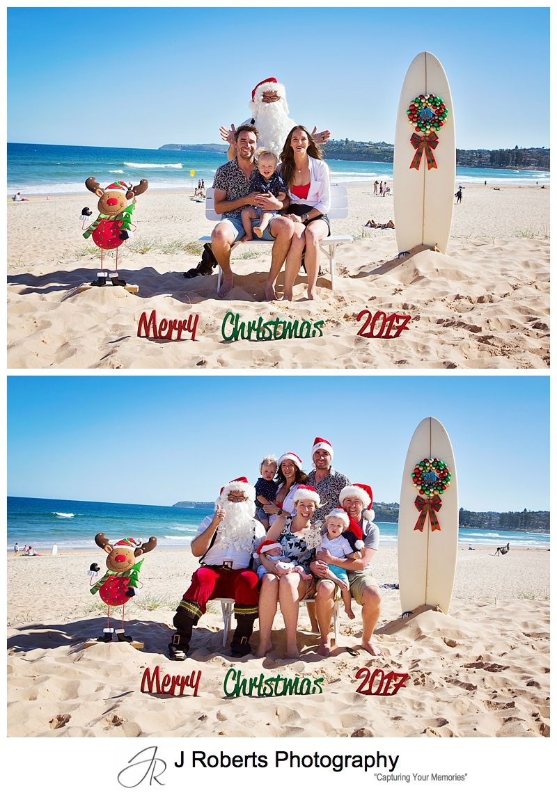 Santa photos on Long Reef Beach Sydney on a beautiful summers afternoon in December