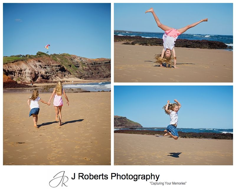 Stunning Family Portrait Photography Sydney Family Fun at Long Reef Beach with warm afternoon light