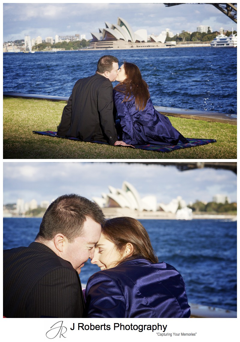 Couple kissing with Sydney Opera House in the background - pre wedding portrait photography sydney