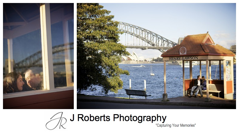 Couple sitting in the bus shelter at Blues Point - pre wedding photography sydney