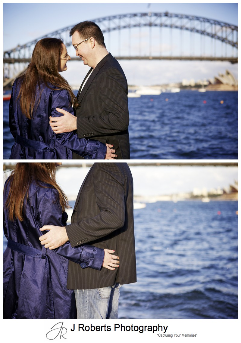Couple embracing at sunset - pre wedding photography sydney