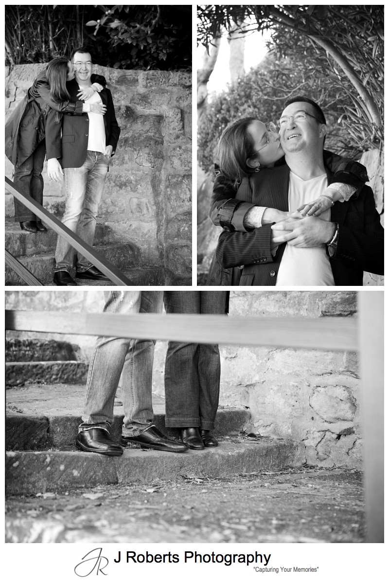 B&W portraits of an engaged couple - pre wedding photography sydney