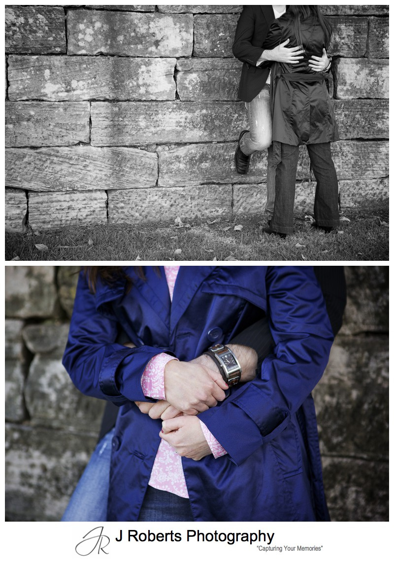 Couple intertwined hands - pre wedding photography sydney