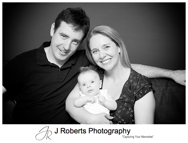 Family portrait of a baby girl with her parents - sydney baby portraits