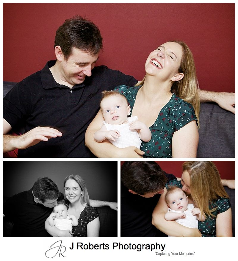 Baby portraits of a baby with her parents - sydney baby photographer