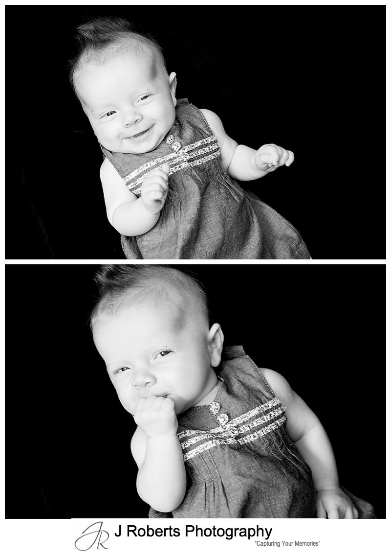 B&W portraits of a laughing little girl - sydney baby photography