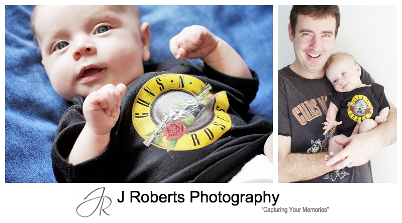 Baby girl in guns n roses shirt - sydney baby photographer
