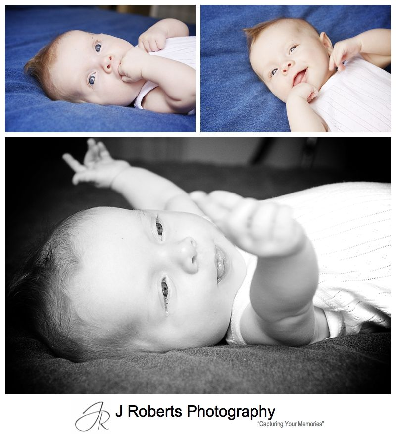 Baby girl portraits on a blue background - sydney baby photographer