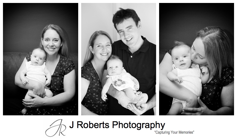 B&W portraits of a baby girl with her parents - sydney baby photography
