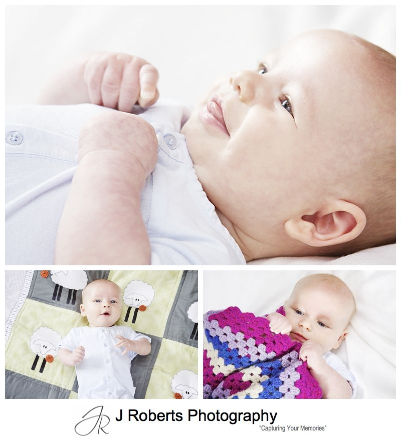 Baby portrait with special family items like hand made quilts - sydney baby portrait photographer