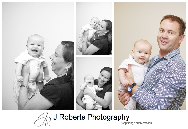 Laughing baby boy with his parents - sydney baby portrait photographer