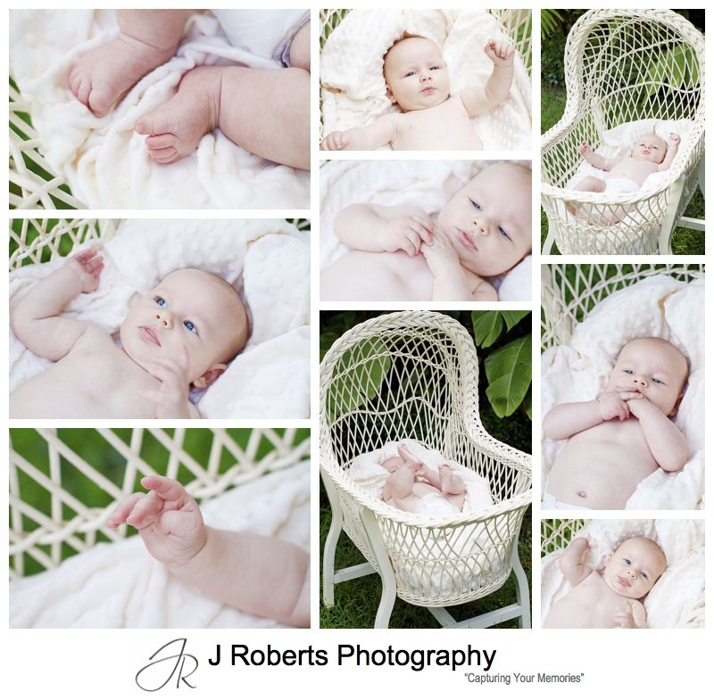 Baby portraits in an antique wicker baby bassinet - sydney baby portrait photographer