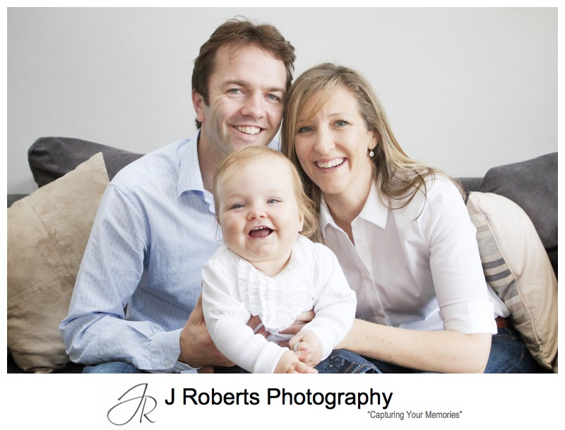 Family portrait with parents and baby girl - family portrait photography sydney