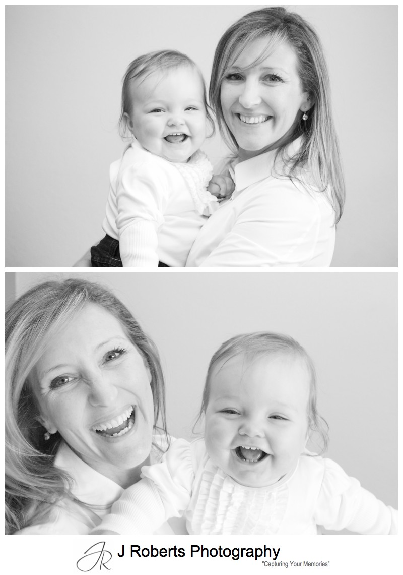 Laughing little girl with her mother - family portrait photography sydney