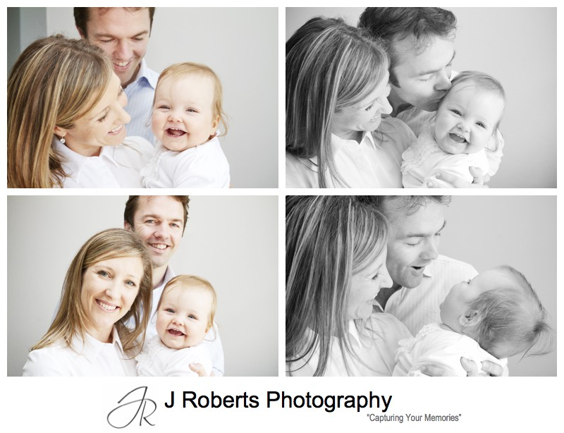 Family portraits with laughing baby girl - family portrait photography sydney