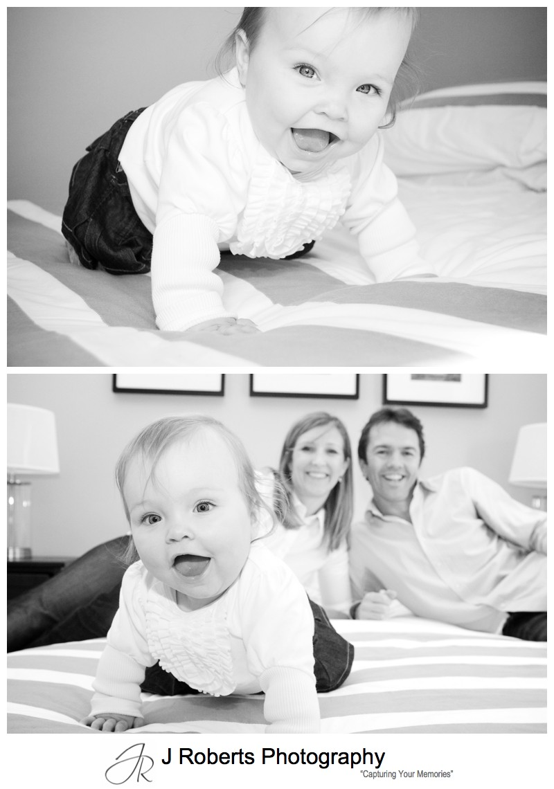 B&W portrait of baby girl laughing - family portrait photography sydney