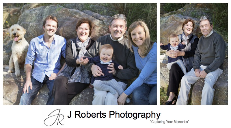 3 generations of a family portrait with family dog - family portrait photography sydney