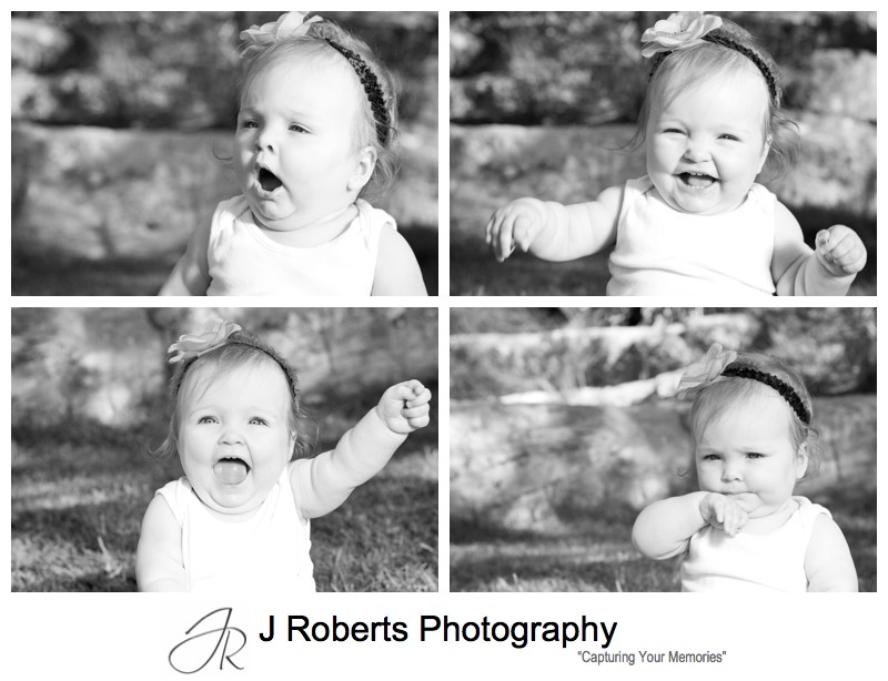 B&W portraits of a baby girl in the park - family portrait photography sydney