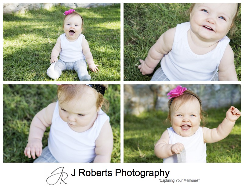 Little girl with pink flower head band laughing - portrait photography sydney