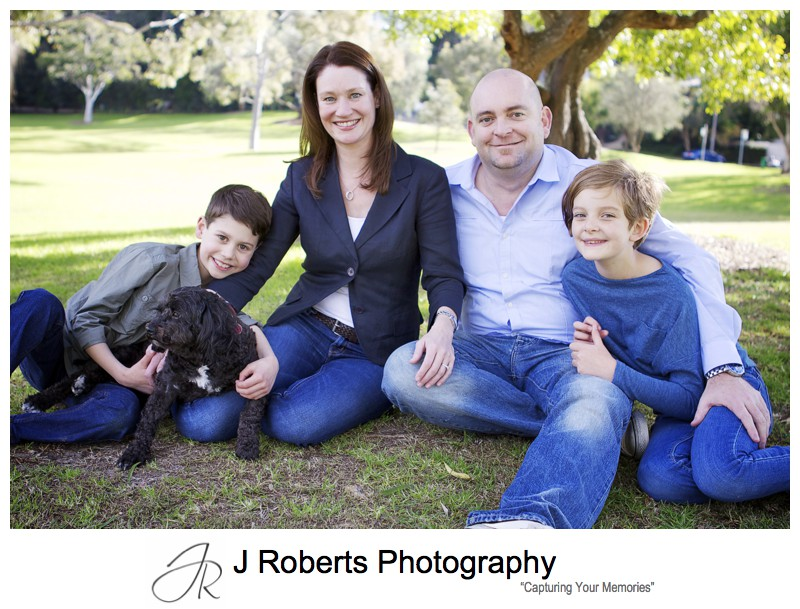 Family portrait on location with 2 kids and a dog - family portrait photography sydney