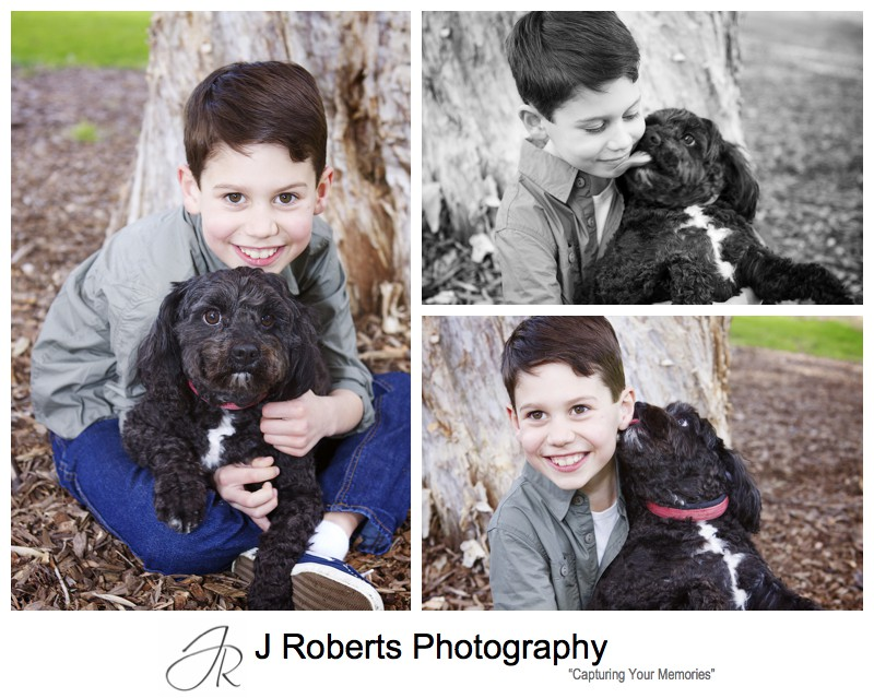 Portraits of a little boy with his dog - family portrait photography sydney