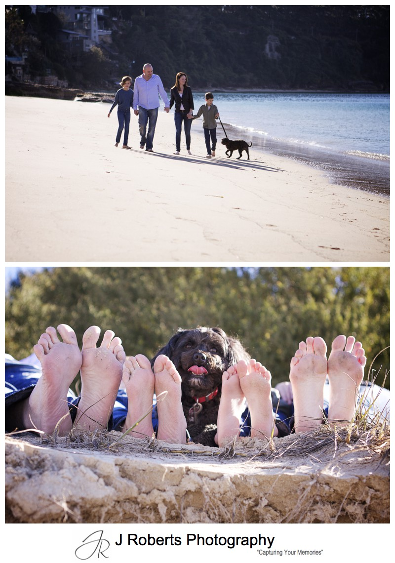Family on the Chinaman's beach with their dog - family portrait photography sydney