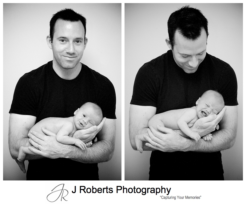 B&W portraits of a father holding his newborn son - sydney baby portrait photographer