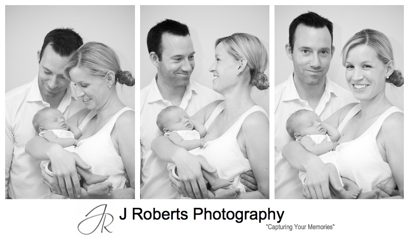 Parents photographed with their newborn baby - sydney baby portrait photographer