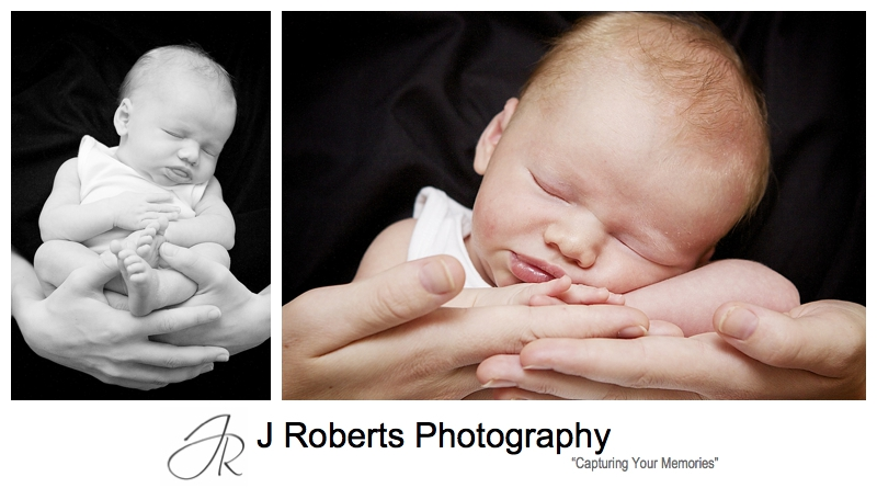 Newborn baby sleeping in mothers hands - sydney baby portrait photographer
