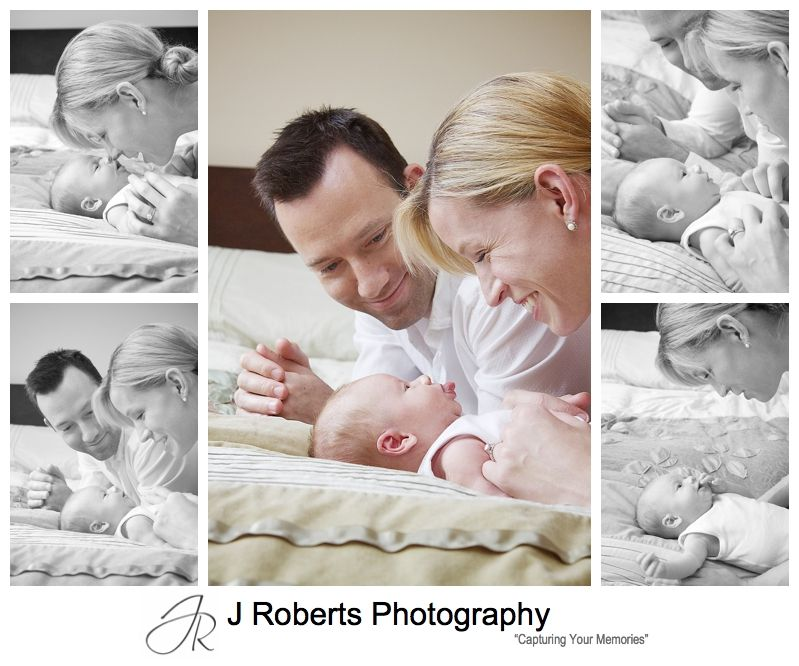 Parents talking to a newborn baby boy - sydney baby portrait photographer