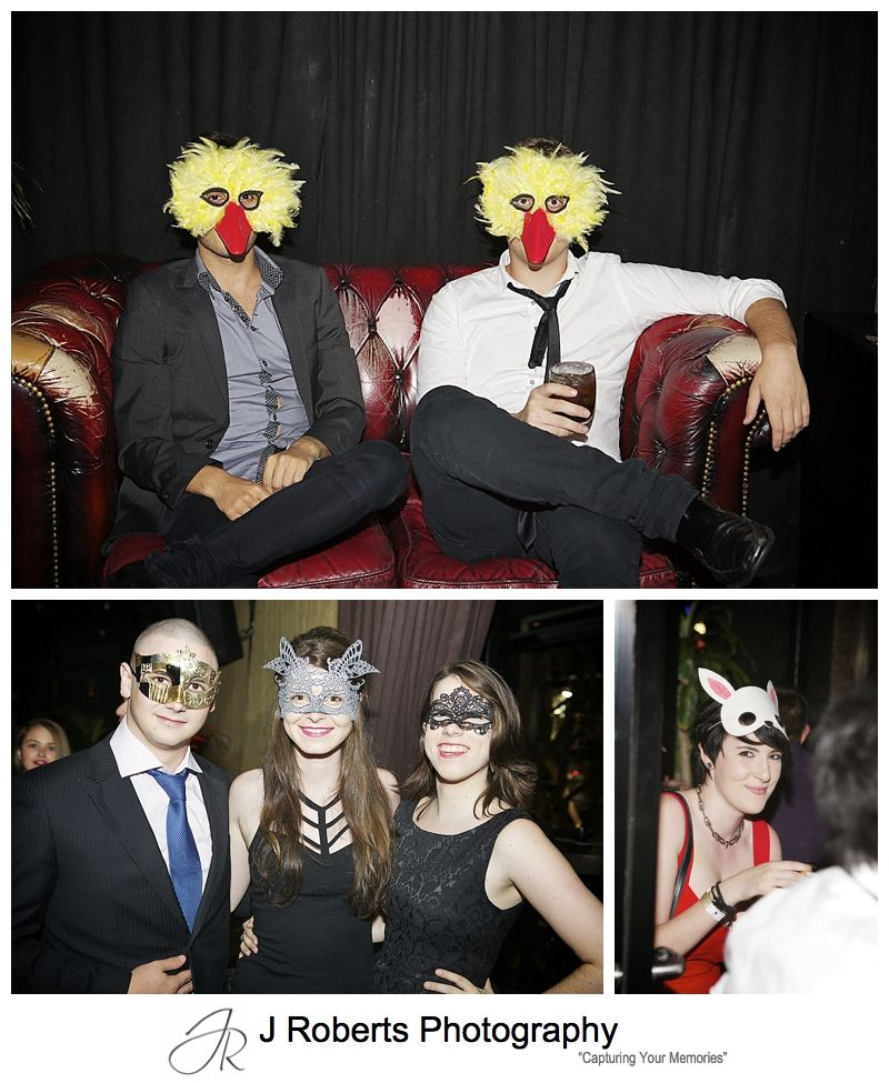 fun masquerade masks at a 21st birthday party - sydney party photography
